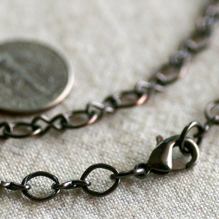 """Antique Copper Filigree Blank Necklace Round And Eight Chains Necklace cn167 30"""""""