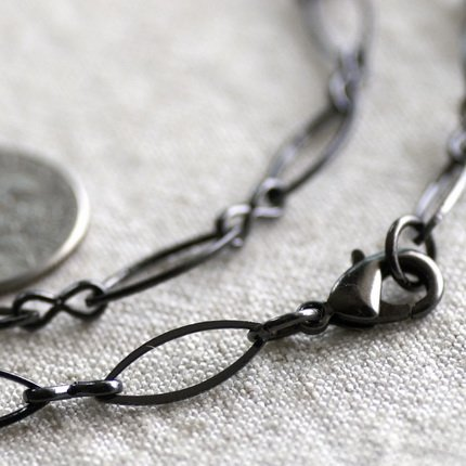 """Gunmetal Black Plated Blank Necklace Eight Figure Chain Necklace cn170 30"""""""
