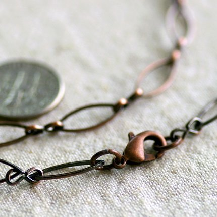Antique Copper Filigree Blank Necklace Copper Chain cn171 30""