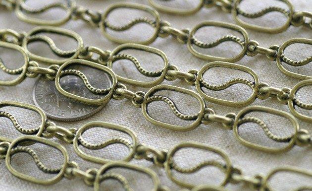 2ft Tibetan Silver Fancy Chains Antique Bronze/P Bali Style h10ac,
