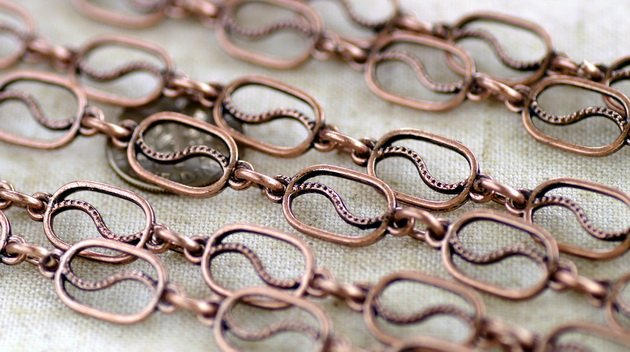 6ft Antique Copper Filigree Tibetan Silver Chains Open Links h10ad