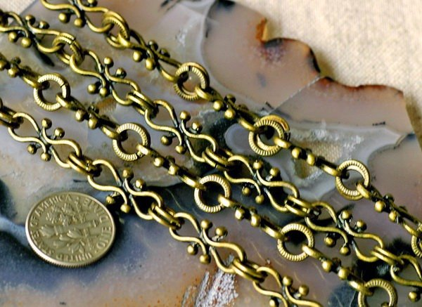 Antique Bronze Plated Filigree Tibetan Silver Fancy Chains h11c (2ft)