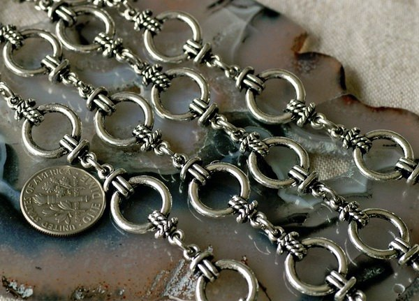 6ft Antique Silver Plated Chain Tibetan Silver Style Chains h23b