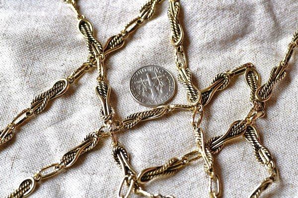 6ft Antique Golden Plated Metal Tibetan Silver Chains h24a