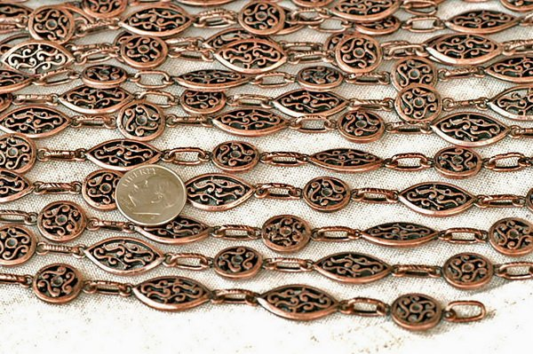 6ft Antique Copper Plated Tibetan Silver Filigree Chains Necklace h33d