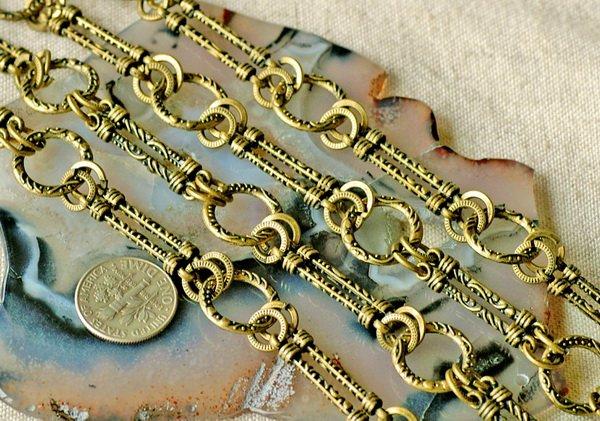 2ft Antique Bronze Plated Tibetan Silver Metal Filigree Fancy Chains h40c