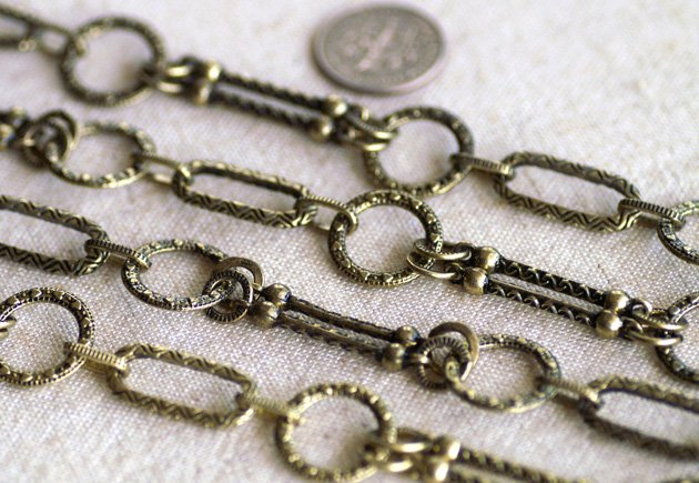 Antique Bronze Plated Large Filigree Chain Tibetan Style Necklace h52ac 2ft