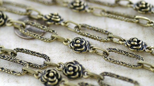2ft Antique Bronze Plated Filigree Rose Flower Chain Necklace h137c