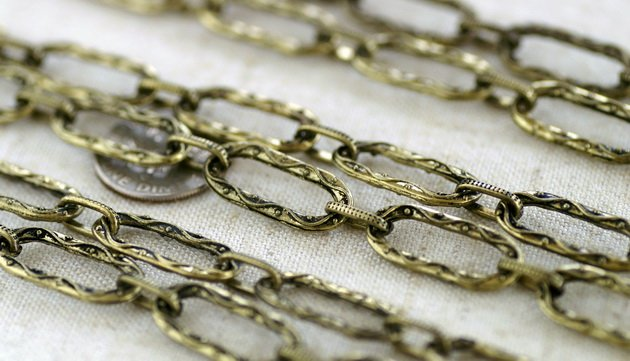 2ft Antique Bronze Plated Tibetan Silver Fancy Chains Necklace h165c