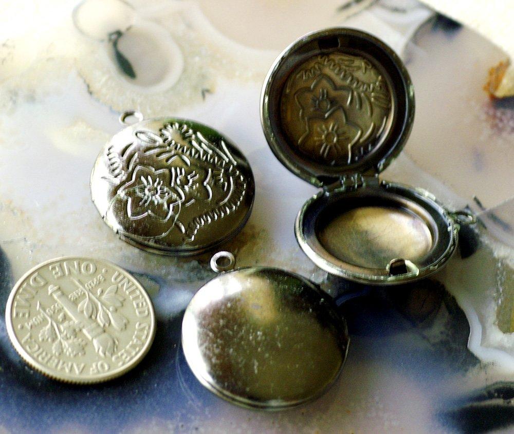 20pcs Gunmetal Black Plated Brass Filigree Round Locket Charms Pendant b29c