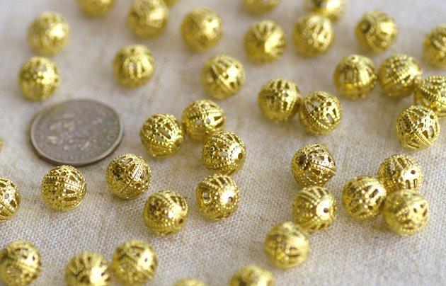 Solid Brass Filigree Ball Beads Round Beads 8mm b39n (40pcs)