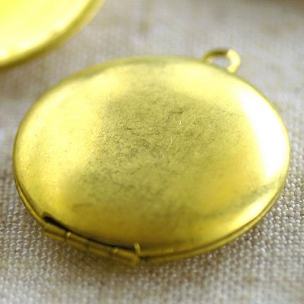 3pcs Soild Brass Round Locket Charm pendant 25mm b66