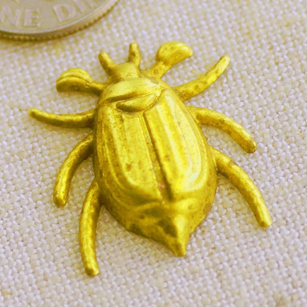 Solid Brass Filigree Beetle Bug Charms Animal Finding 20x17mm b71 (8pcs)