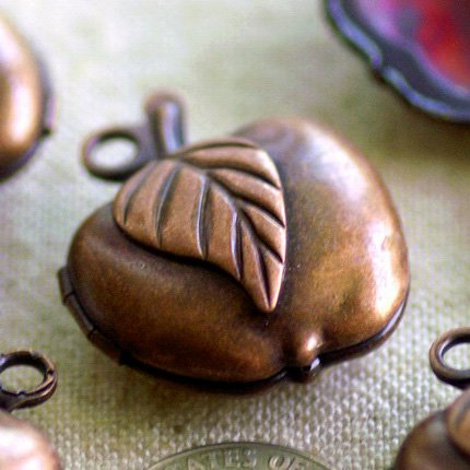 2pcs Antique Copper Plated Brass Apple Charms Lockets Filigree b77d