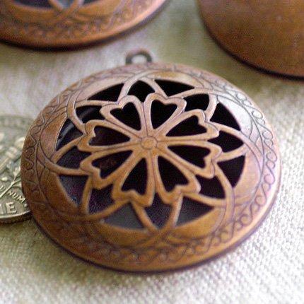 Antique Copper Plated Metal Locket Hollow Filigree Charms Pendant b78d (10pcs)