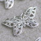 150pcs Wholesale Sterling Silver Plated Brass Butterfly Filigree Embellishment Wraps 22mm be28s