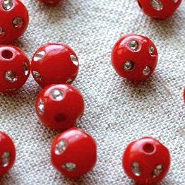 Red Ornate Flower sparkling Plastic Round Beads 8mm p094 (400pcs)