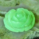 Green Flower Bead Cabochon Finding Embellishments 16mm p201g (4pcs)
