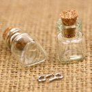 Triangle Clear Glass Bottles Vials Charm Pendant 13x18mm with Cork & Eyehook GB10 (5pcs)