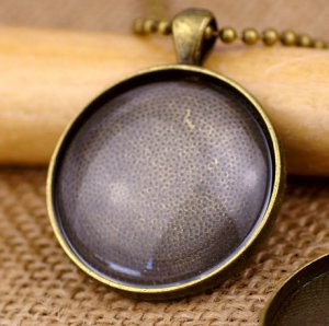 2pcs Large Antique-Bronze Cabochon Setting Pendant Trays 30mm - With Glass Insert Domes - BG90