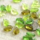 80pcs Mixed Green Acrylic Translucent Leaf Beads 12.5x8mm p175