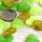 50pcs Mixed Green Acrylic Matt Frosted Leaf Beads p185