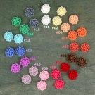 16pcs Colorful Resin Mum Flower Cabochons-15 Colors Choices-Chrysanthemum-16mm Cameo Flat Back-P224
