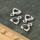 7x6mm Sterling Silver Plated Filigree Pinch Bail Pendant Clasp m111s 4pcs