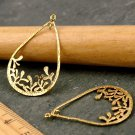 4pcs Solid Brass Leaf Flower Water drop Ring Pendant be06
