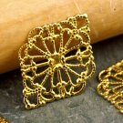 21x15mm Soild Brass Filigree Art Pattern Connector Warp bp45a(12pcs)