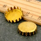 12mm Raw Brass Crown Round Cameo Cabochon Base Setting m148-12(16pcs)