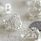 8pcs Sterling Silver Plated Filigree Adjustable Ring Base Blank m49s