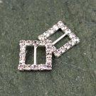12pcs Rhinestone Square Buckle Diamante Crystal Silver Wedding Scrapbooking Shoes Decoation FA10