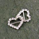 Rhinestone Heart Buckle Diamante Crystal Slider Silver Wedding Shoes Decoation FA11(12pcs)
