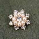 Rhinestone Crystal Snowflake Flatback Pearl Rose Gold Hair Flower Ring Decoration FA12(4pcs)