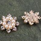8 Rhinestone Crystal Snowflake Flatback Pearl Rose Gold Hair Flower Ring Decoration FA12