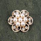 Rhinestone Crystal Flower Flatback Pearl Rose Gold Hair Flower Clip Ring Pillow Decoration FA14(4