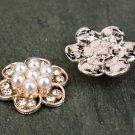 6 Rhinestone Crystal Flower Flatback Pearl Rose Gold Hair Flower Clip Ring Pillow Decoration FA14