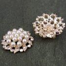 Rhinestone Crystal Large Flower Flatback Pearl Rose Gold Hair Flower Clip Ring Decoration FA15(4