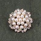 6 Rhinestone Crystal Large Flower Flatback Pearl Rose Gold Hair Flower Clip Ring Decoration FA15