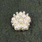 4 Pearl Silver Flatback Rhinestone Crystal Wedding Invitation Hair Flower Clip Ring Napkin Ring FA16
