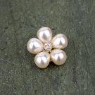 5 Pearl Rose Gold Flatback Rhinestone Crystal Wedding Invitation Hair Flower Clip Napkin Ring FA17