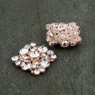 8pcs Rhinestone Crystal Diamante Flat Back Rose Gold Hair Flower Clip Ring Decoration FA18