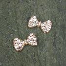 6 Rhinestone Crystal Bow Tie Rose Gold Embellishment Hair Flower Clip Ring FA19