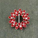 4 Scarlet Red Rhinestone Round Buckle Diamante Crystal Wedding Invitation Shoes Decoation FA20