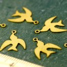 Raw Brass Bird Swallow Sparrow Charms 14x11mm b96(60pcs)