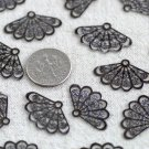 Gunmetal Black Plated Brass Filigree Wrap Charms 23.5mm be35c(30pcs)