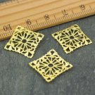 Solid Brass Square Filigree Embellishment Wrap Connector bp41a(30pcs)