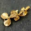 Raw Brass Orchid Flower Earing Finding Pendant Charm Set d06(1pcs)