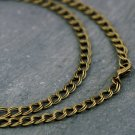 1pc Antique Bronze Necklace Double Wire Curb Chain Necklace 6.4x5.3 cn203-18""